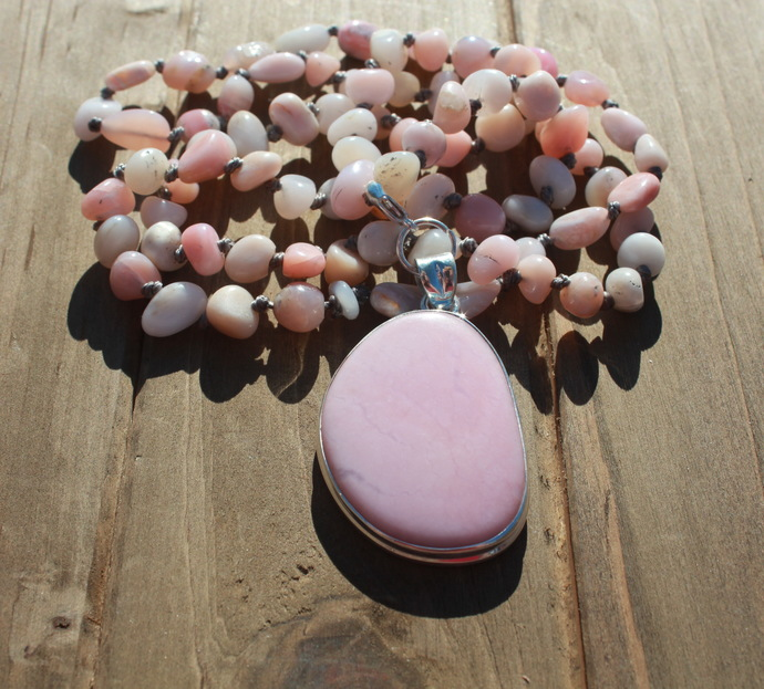 Stunning Pink Opal Hand knot Necklace Perfect GIft for the Opal Lover by