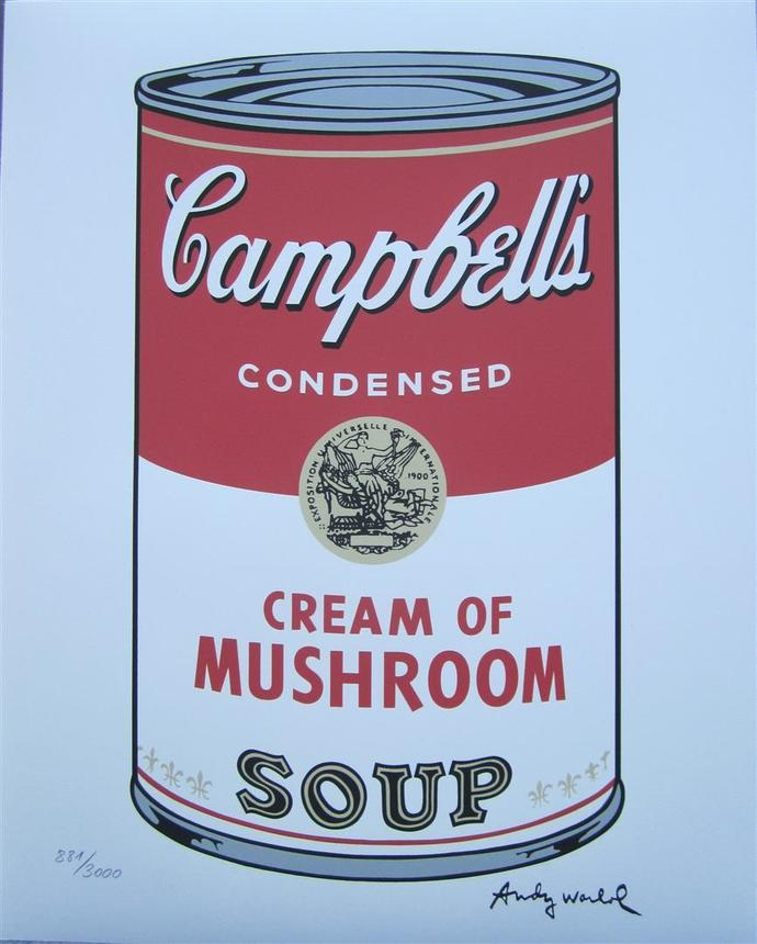 Andy Warhol Campbell's Soup Cream of Mushroom signed authenticated