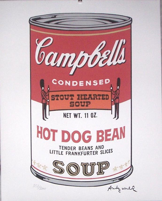 Andy Warhol Hot Dog Bean Campbell's Soup signed numbered authenticated