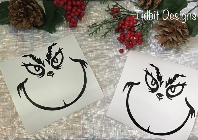 100 Ornament Size Grinch Face Vinyl Decal / Sticker / D.I.Y Project / Christmas