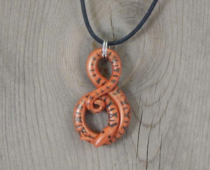Handmade Polymer Clay Orange Snake Pendant Necklace Choker