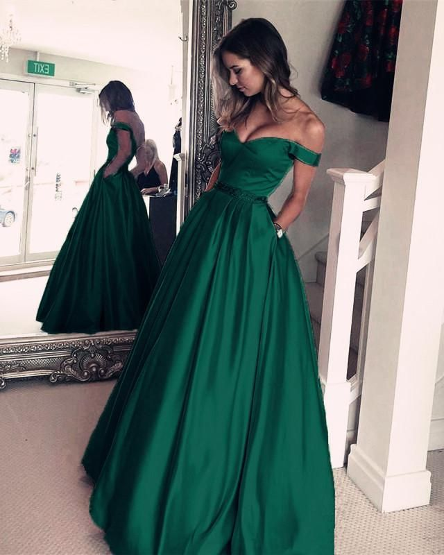 79da8404f40bf Unique Dark Green Satin V-neck Prom Long Dresses Off Shoulder Evening Gowns