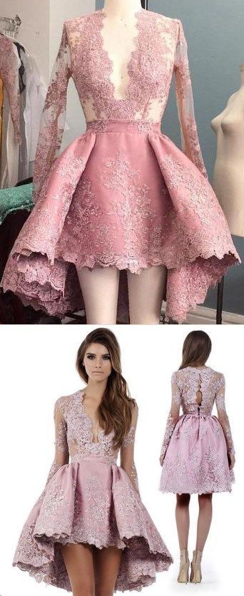 63cf3da4e6d Long Sleeve High Low Homecoming Dresses Lace Short Prom Dress Party Dress