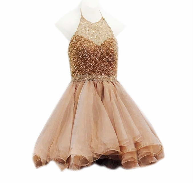 champagne homecoming dress,halter prom dress short ,beaded cocktail dresses