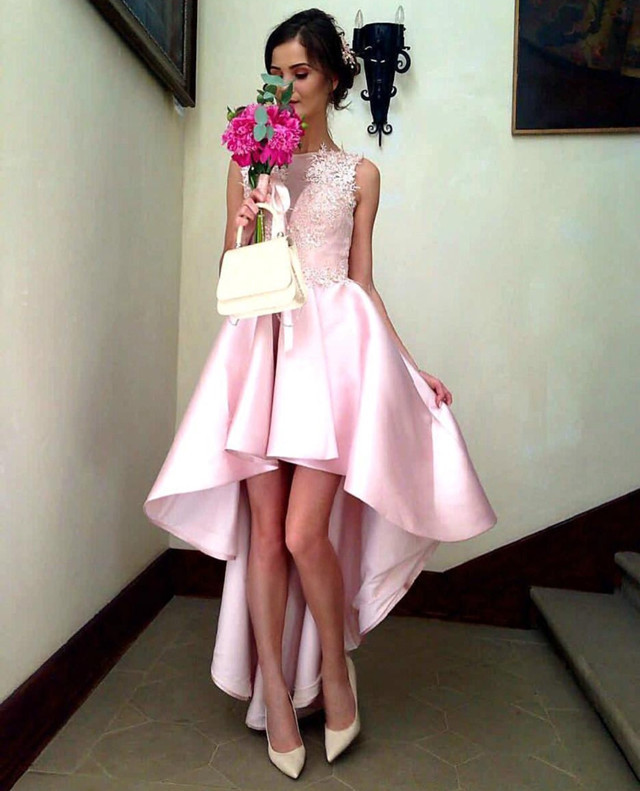 pink prom gowns,high low prom dress,elegant party dress,summer prom dresses