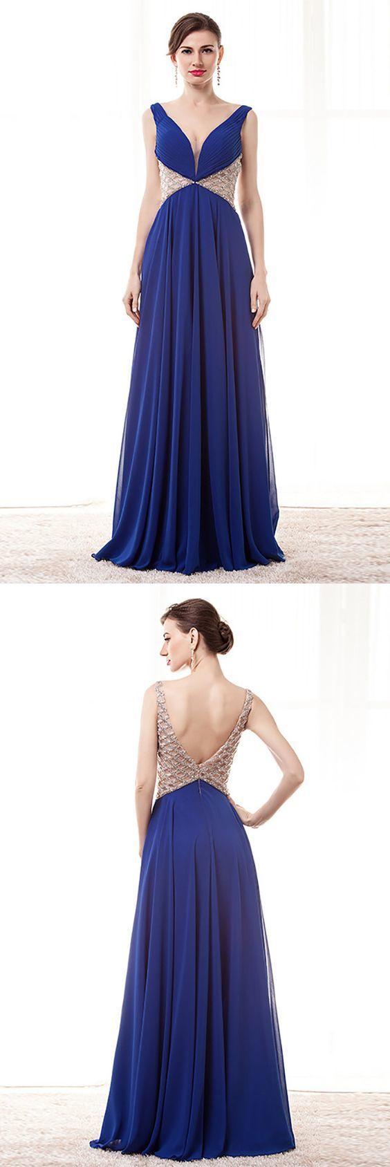 Open Back V-neck Blue Prom Dress Long With Beading Waist Straps