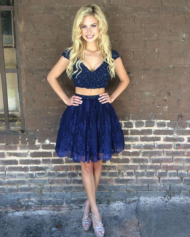 Navy Blue Homecoming Dresses,Two Piece Homecoming Dresses,Short Prom Lace
