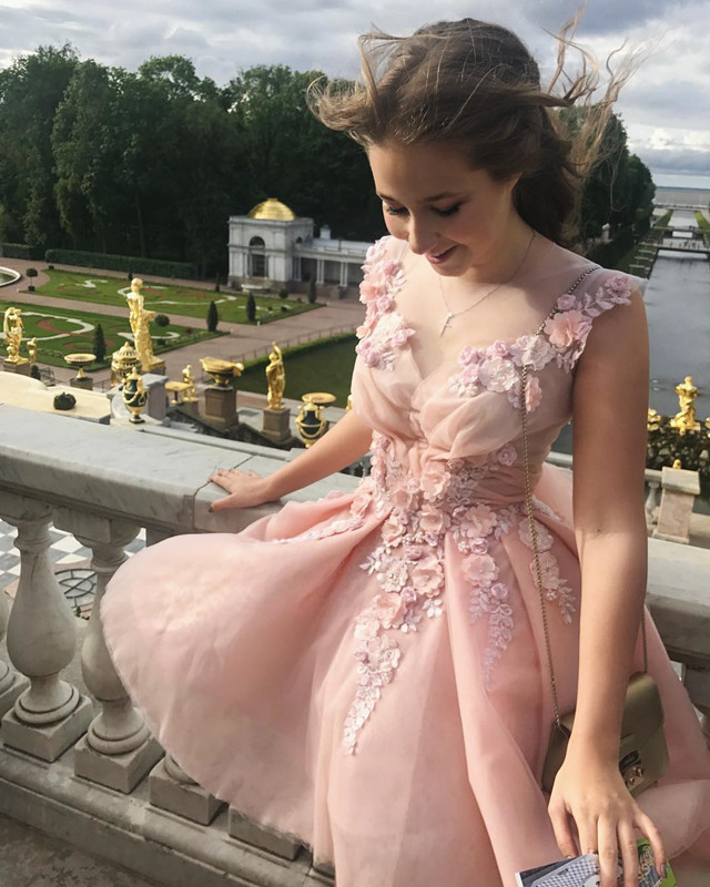 Elegant Homecoming Dresses,Pink Prom Dresses,Flower Prom Dress,Cute Party