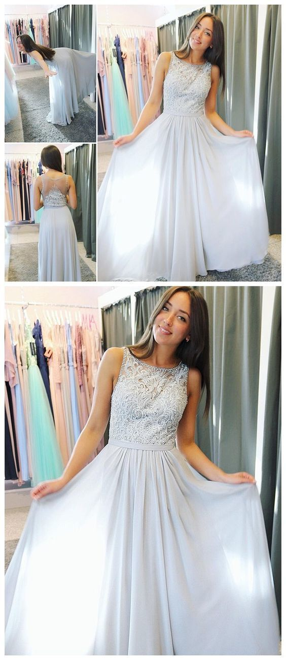 Glamorous Chiffon Scoop Neckline A-line Prom Dresses With Beaded Appliques