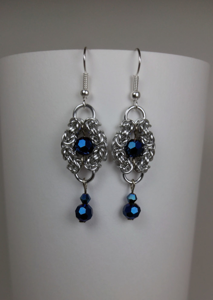 Romanov earrings, chainmaille earrings, chainmail jewelry