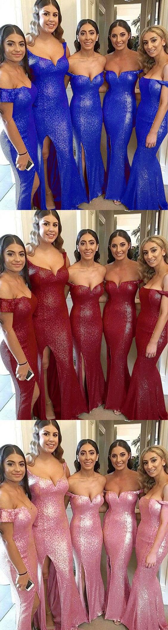 Sequined Long Women Formal Bridesmaid Dresses Mermaid Long Slit