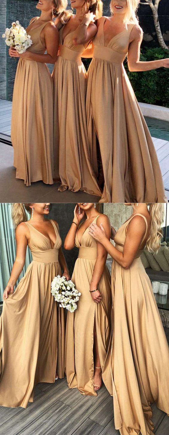 Gold bridesmaid dresses ,long bridesmaid dresses,wedding party dress