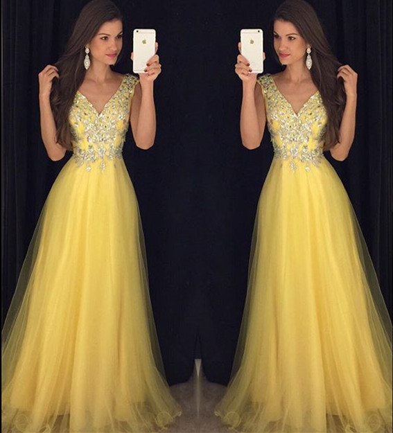 Glitter Beading V Neck Long Yellow Prom Dresses 2019 Women's Formal Evening