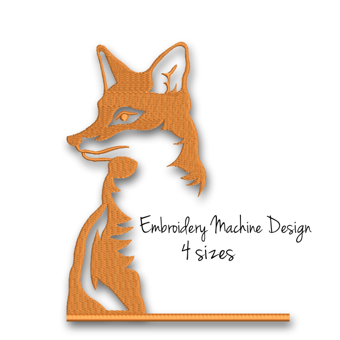 Fox Embroidery Design animal digital instant download machine pattern hoop file