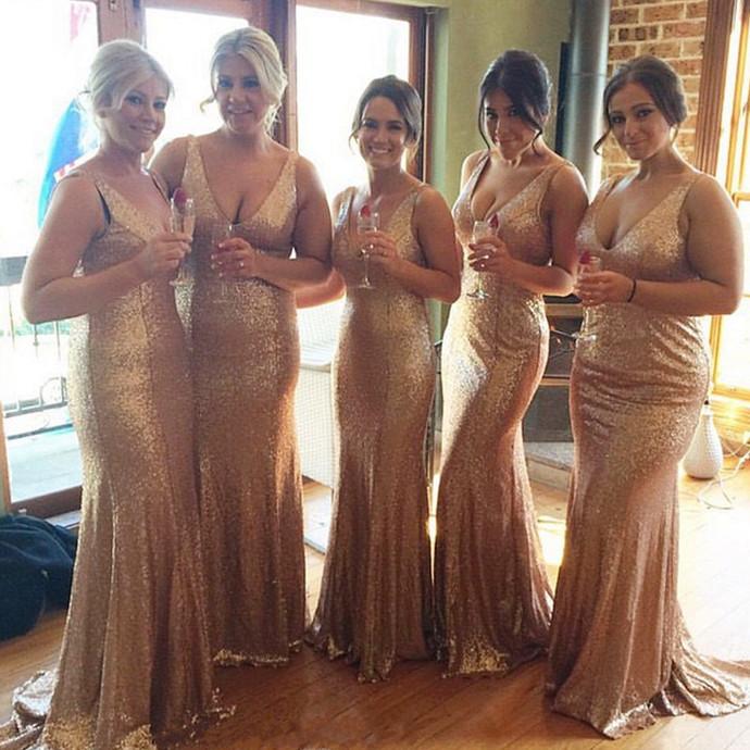 long champagne gold sequins v neck mermaid bridesmaid dresses floor length