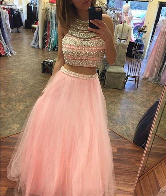 women's pink tulle two piece prom dresses with pearl beaded halter top