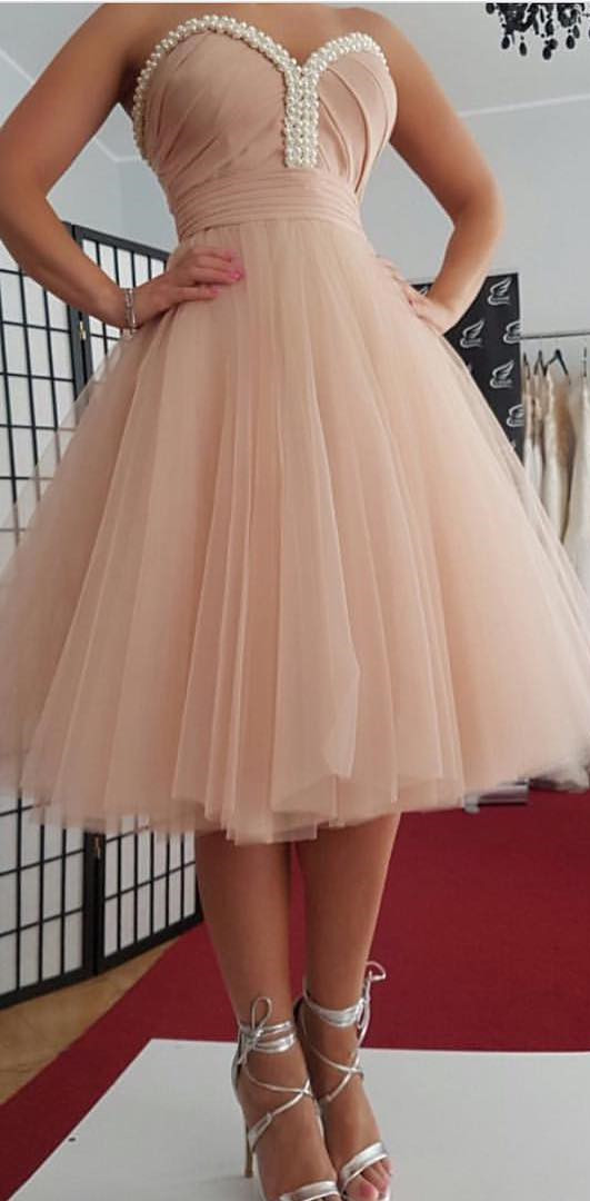 pink homecoming dress,short prom dresses 2019,knee length party dress,pearl