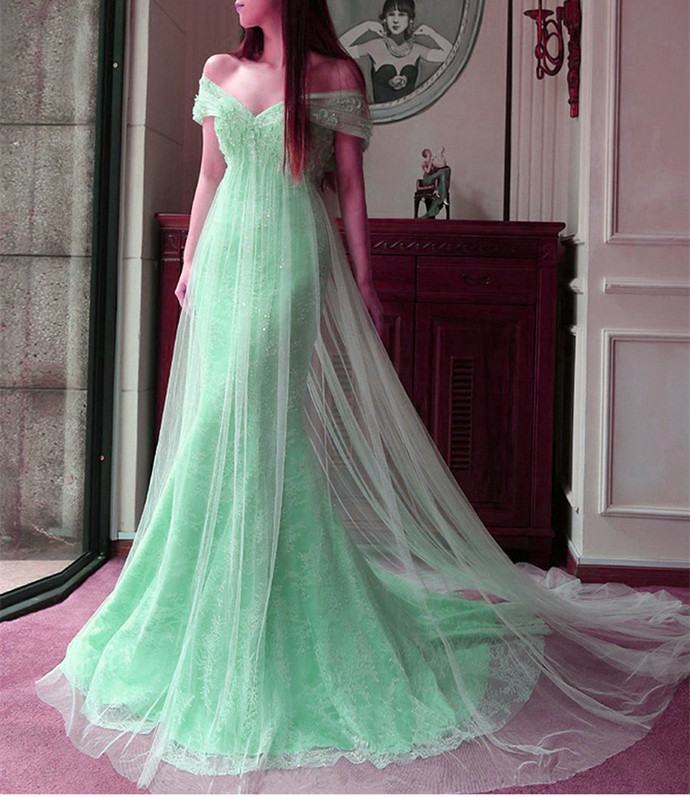 Mint Tulle Lace Off The Shoulder Mermaid Evening Dresses Elegant Prom Dress