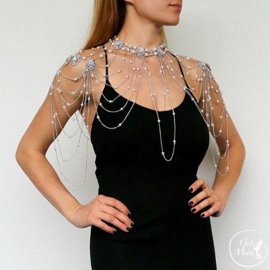 Wedding Shoulder Necklace Kristy, Shoulder Jewelry