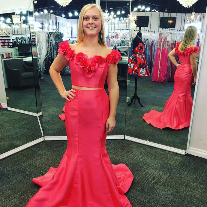 two piece prom gowns,red prom dresses,mermaid prom dresses,2 piece prom