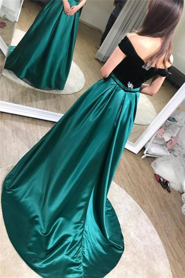 Black And Green Long Elegant Off The Shoulder A-line Prom Dresses