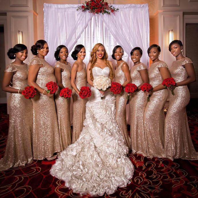 Rose Gold Bridesmaid Dresses,Mermaid Bridesmaid Dresses,Wedding Party