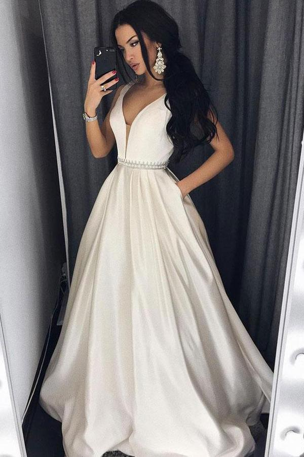 Modest Ivory Long Deep V-neck Simple Prom Dresses With Pockets