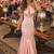 Simple Cheap Elegant Long Sheath Mermaid Pink Prom Dresses