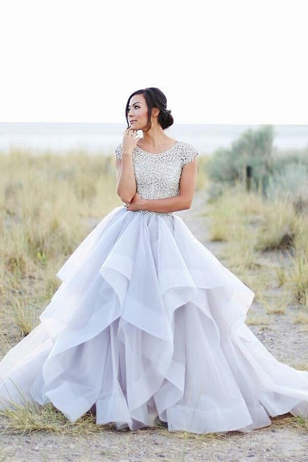 Cap Sleeves Ivory Ball Gown Long Lace Princess Prom Dresses,Wedding Dresses