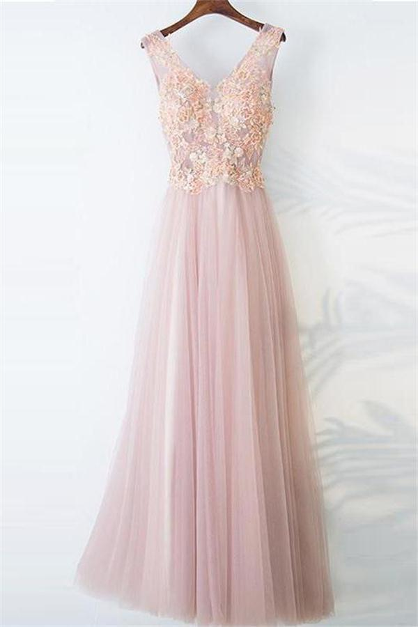 Flowy Pink Long Lace Tulle Floor Length V-neck Prom Dresses
