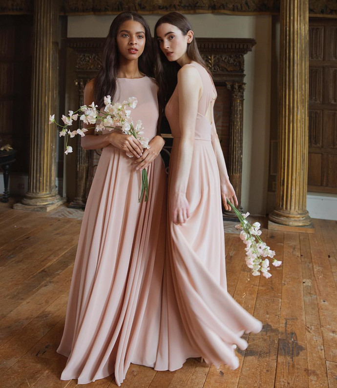 Simple Light Pink Mermaid Bridesmaid Dress, Sexy Wedding Party Gown