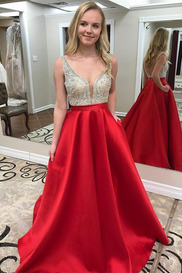 Sparkly Beading Red Long V-neck Open Back A-line Graduation Dresses Prom Dresses