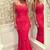 Pretty Spaghetti Straps Long Mermaid Red Lace Floor Length Prom Dresses