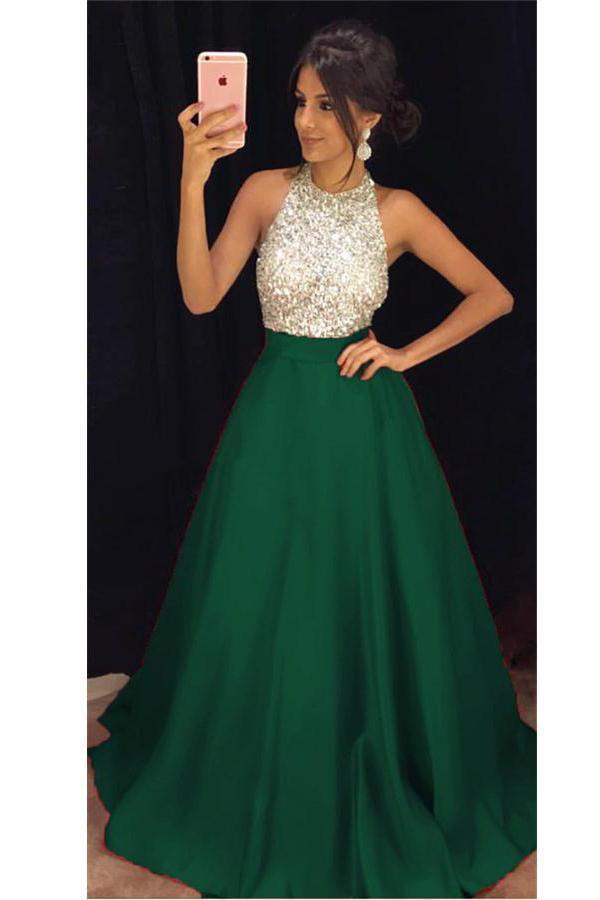 Modest Halter Long Open Back Sleeveless Satin Beading Simple Prom Dresses
