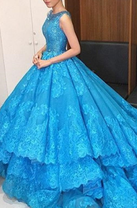 9284f3ae6fc Sexy Appliques Formal Royal Blue Quinceanera Dress Tulle Ball Gowns Prom  Dress