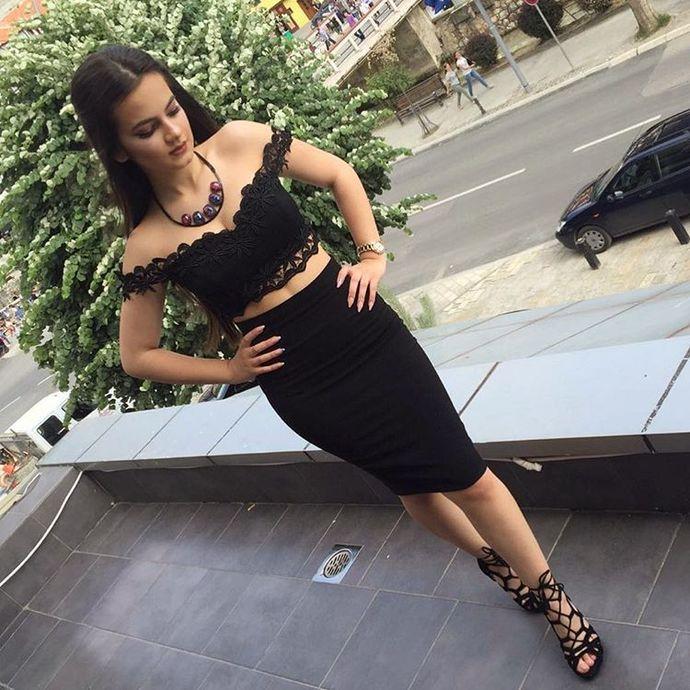 black party dress,two piece homecoming dresses,short cocktail dresses,elegant