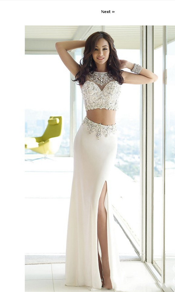 High Neck Two Piece Prom Dress with Beaded, High Slit Long Party Dress