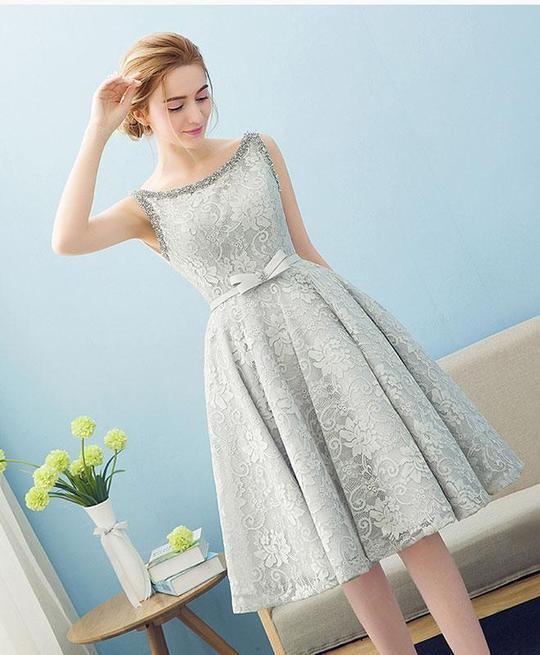 2f862bade9 CUTE GRAY LACE PROM DRESS