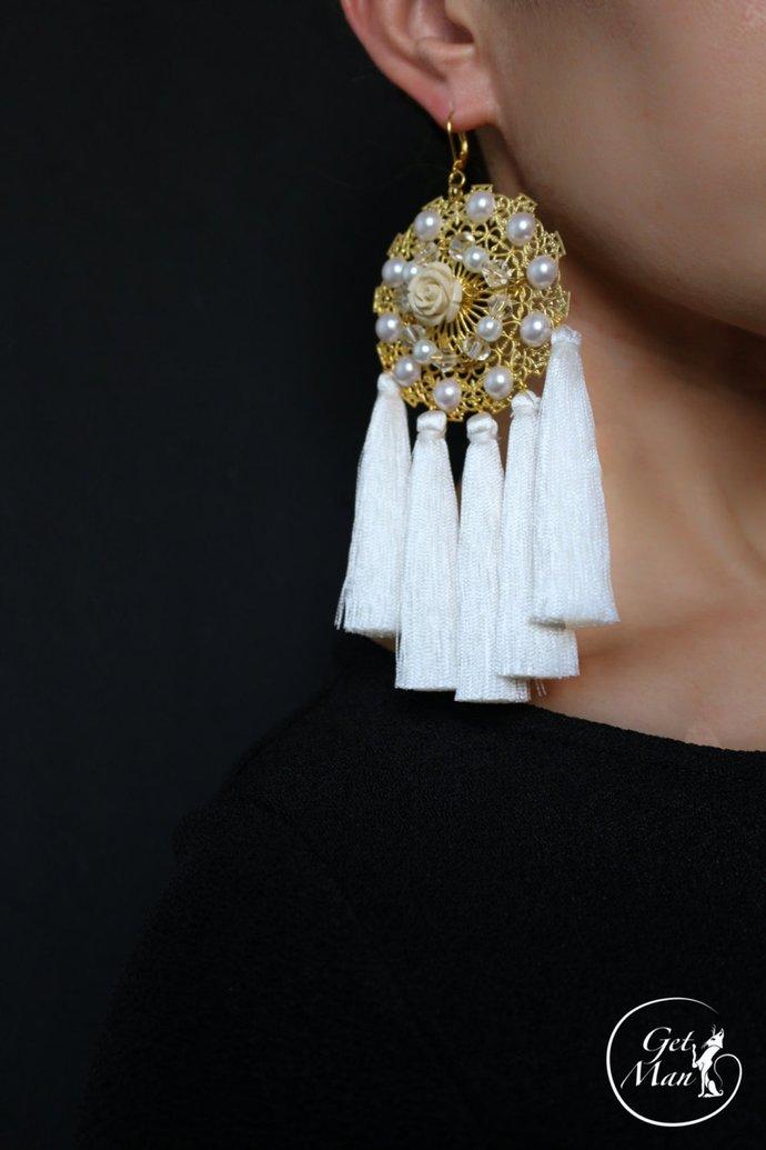 White Tassel Earrings Aza, Chandelier Earrings