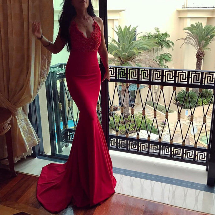 Red mermaid dress,v neck evening gowns,long prom dress,sexy prom dress,elegant