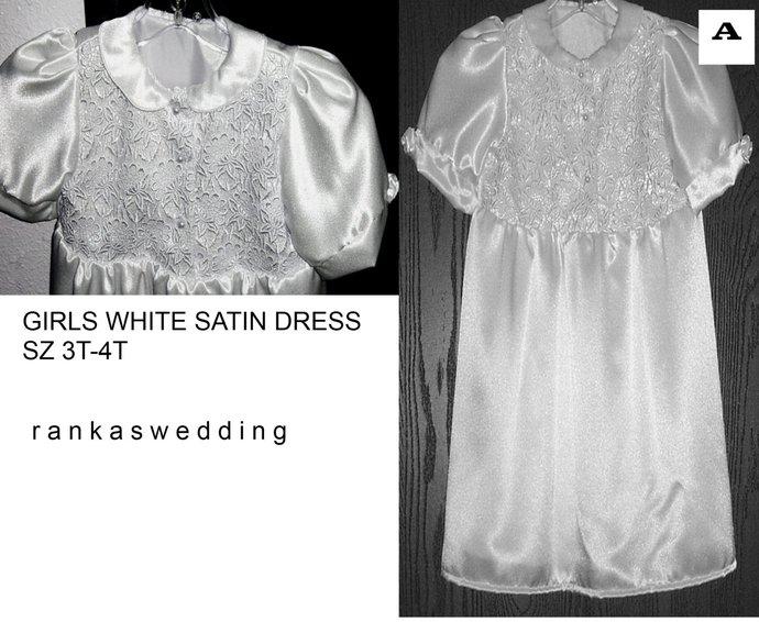 WHITE SATIN  formal lacy dress sz 3t-4t