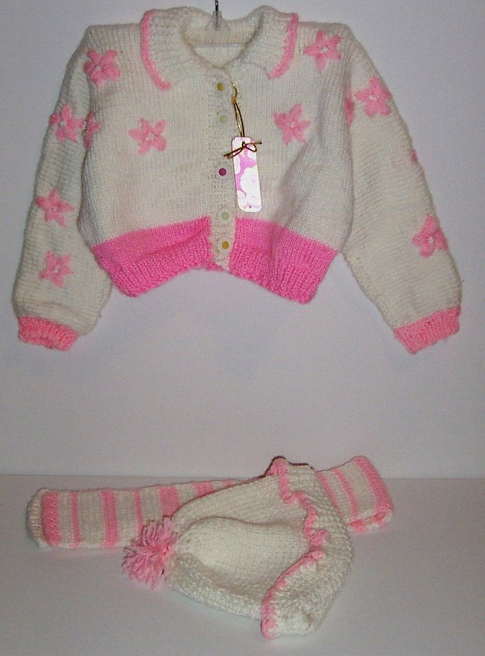 "KNITTED THREE pc outfit ""sweater"" scarf ""hat""  sz  2T-3T"