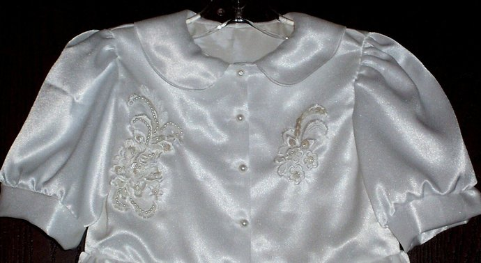 WHITE SATIN organza lace formal dress sz 6x-7