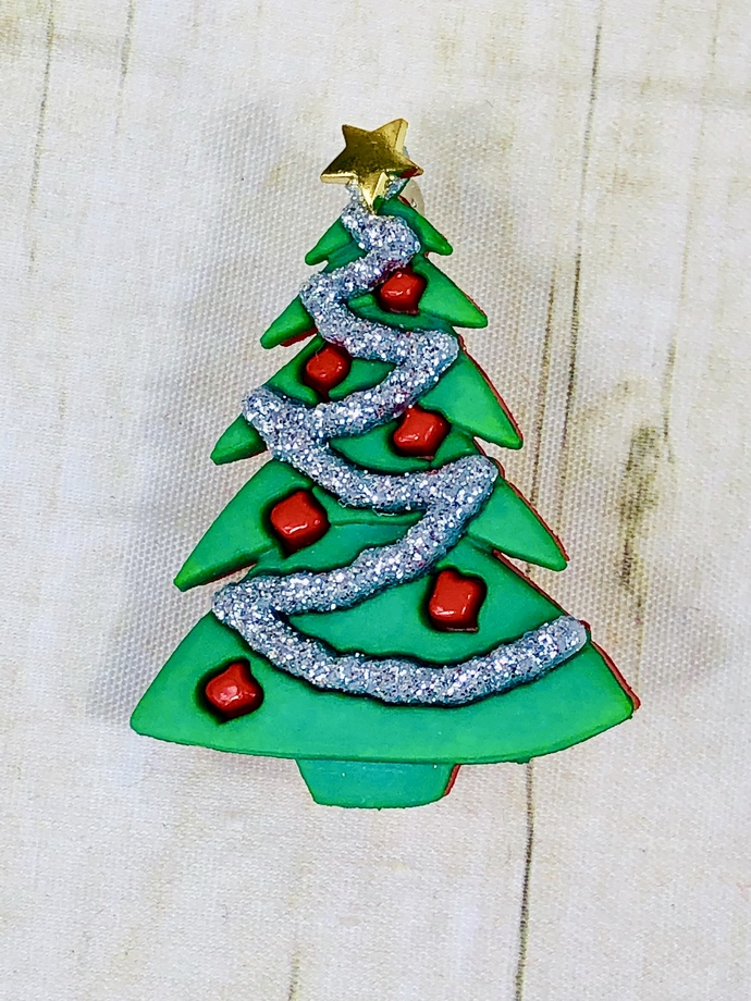 Christmas Tree, Red, Green, Silver Pin, New