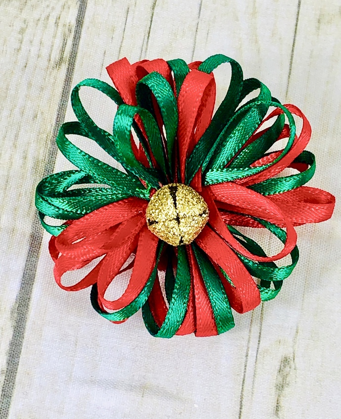Gold Glitter Jingle Bell, Red, Green, Christmas Pin, New