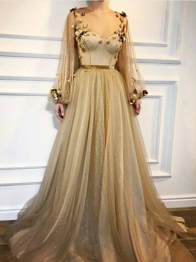 Chic A-line 2019 Prom Dresses with Sleeve Gold Long Prom Dress Tulle Evening