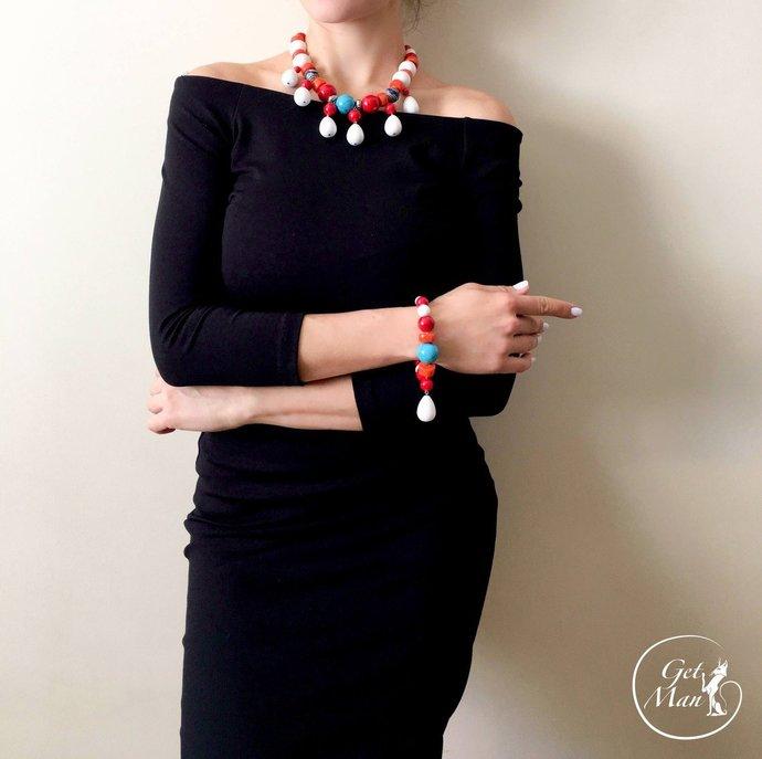 Tibetan Necklace Padma, Colorful Necklace, Jewelry Set