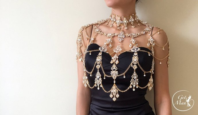 Crystal Shoulder Necklace Alivia, Rhinestone Bolero