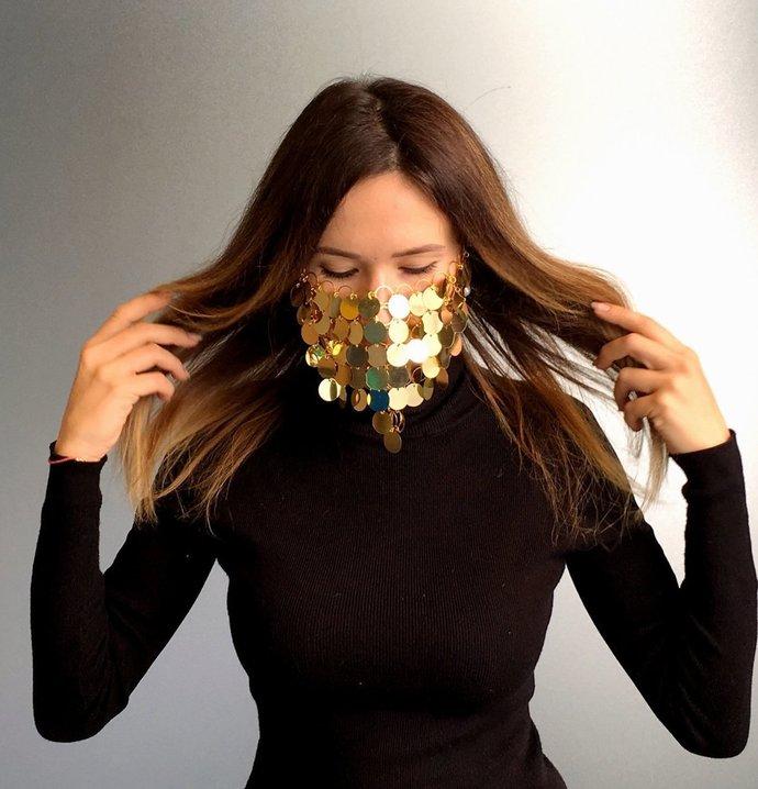 Golden Face Mask Janice, Face Sequin Veil