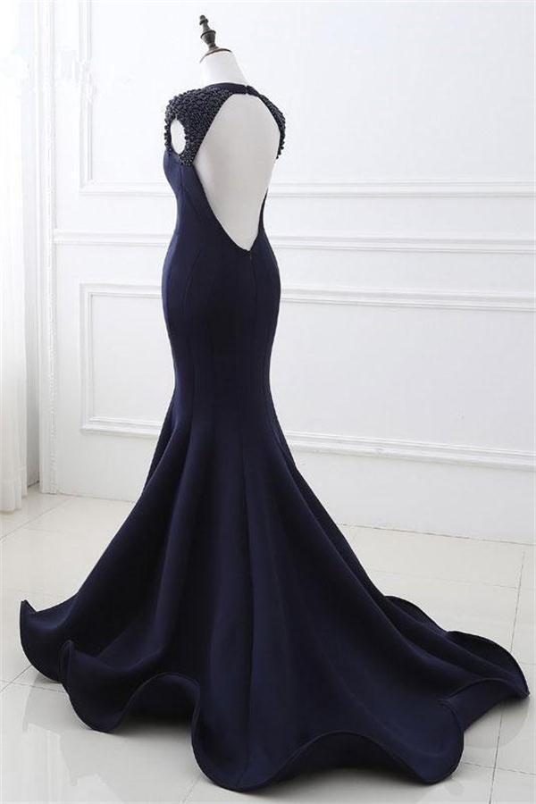 Mermaid Open Back Navy Blue Long Beading V-neck Prom Dresses